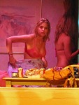 """Gorgeous actresses in bikinis Vanessa Hudgens, Selena Gomez and Ashley Benson film scenes in a pool for upcoming movie """"Spring Breakers"""" in Florida"""