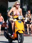 Ashley Benson films for  'Spring Breakers' in bikinis on Vespas in Florida