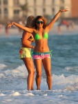 Actresses Vanessa Hudgens and Ashley Benson film scenes in bikinis for their new movie 'Spring Breakers' in Florida